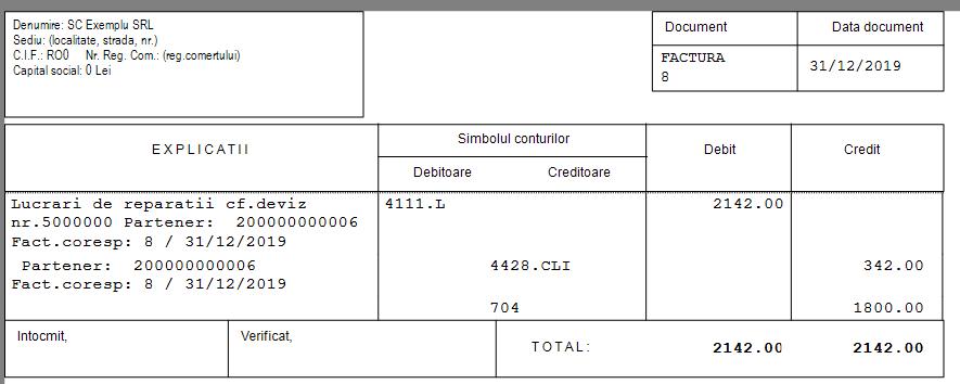 Nota contabila factura Softpro